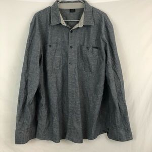 Oakley Mens Gray Long Sleeve Button Down Shirt 2X